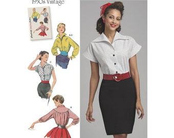 Simplicity 8445 Misses' Vintage Blouses and Cummerbund Plus Size 16-24 (Damaged Envelope n Instructions)