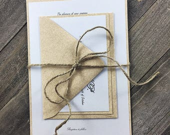 Rustic wedding invitation, Rustic wedding, Custom wedding invitation, Rustic invitation with twine