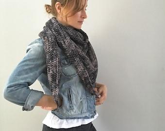 Merino Triangle Wrap Shawl : smoky gray charcoal | natural fibers | crochet handmade | super soft | Mothers Day | Ready to Ship