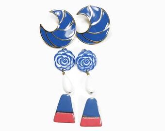 ENAMEL PIERCED EARRINGS Vintage Blue Earrings Studs Collection 3 Pair