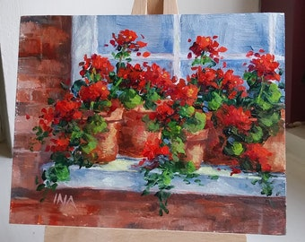"Sunny Summer Red Geraniums on Window Ledge, 4"" X 5"""