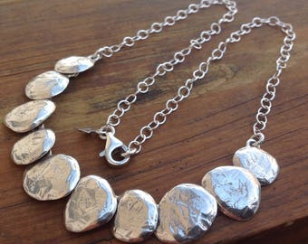 Silpada Disc Still Shining Hammered Textured Israel Sterling Silver Necklace.