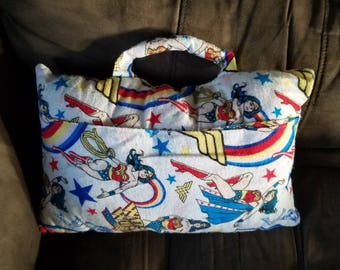 Wonder Woman pillow #Slumber party/3 in 1 Pillow to sleep on+pocket to carry your blanket PJs tooth brush..with handle for pillow fight.