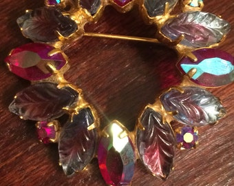 Red and purple leaves vintage brooch