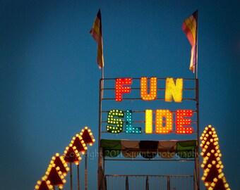 Fine Art Photography, Carnival Photo, Childrens Art, Home Decor, Slide, Rainbow Colors, Carnival Ride, Circus Decor, Wall Art, Neon Lights