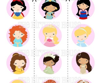 INSTANT DOWNLOAD - PRINTABLE Party Rounds - Princess Cupcake Toppers by The Birthday House