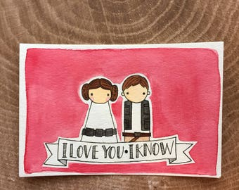 PegBuddies Postcard- Han Solo, Princess Leia, Star Wars, I love you, I know
