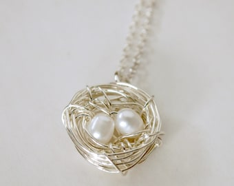 Silver Bird Nest Necklace with Pearl Eggs Mother Jewelry Sterling Silver Freshwater Pearl Accents