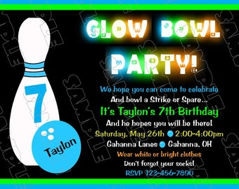 Glow in the dark Bowling invitations birthday party printable invitations UPrint customized card by greenmelonstudios