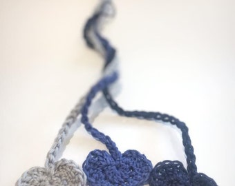 3 Cotton cord ties, grey, blue and navy