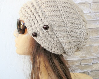 Womens Slouchy   Hat  Winter Hat   Knit Hat -  Slouchy Beanie  by Ebruk - gift for her - Womens Gift Beige  Hat  Winter  accessories fashion