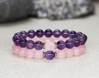 His and her bracelet Couples bracelet Gemstone Amethyst bracelet Matching bracelet for Couples gift for boyfriend gift for girlfriend gift