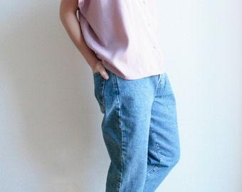 90s vintage blouse, cut out shirt, lilac, lilac, top, upper, 80s 90s vintage clothes, pop, trash, Button row front, loose fit, oversize