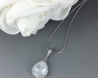 Cubic Zirconia Necklace Bridal Necklace Bridesmaid Jewelry Crystal Necklace CZ Necklace Bridal Jewelry Gift for Moms Mother of Groom Gift