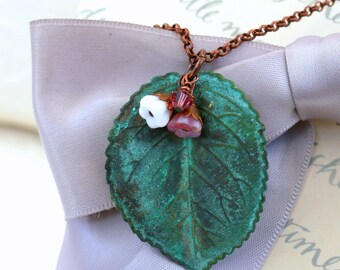 Verdigris Leaf Necklace with tiny flower accents Patina Brass 20 inch brass chain