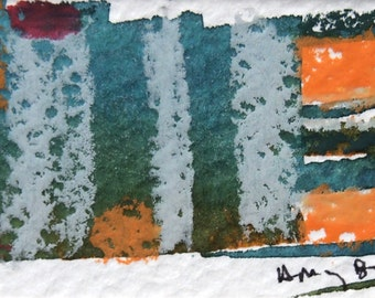 Small Original Art, Abstract Watercolor with Crayon, Matted to 8 x 10 inches, Ready to Frame, OOAK, Green, Orange, Grey, Contemporary Art