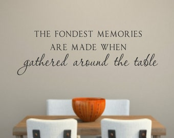 Fondest Memories Are Made When Gathered Around The Table Vinyl Lettering  Dining  Room