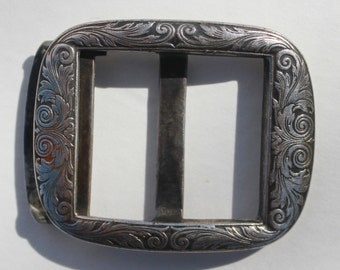 Sterling Silver Antique Victorian Era Belt Buckle