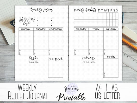 Weekly bullet journal printable bullet journal pages weekly