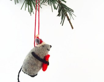 One Santa Mouse ornament, Christmas Mouse, Christmas ornament, hanging mouse,  waldorf mouse, mouse ornament, winter mouse