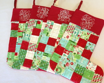 Quilted Embroidered Stocking Set 4