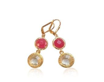Boucles d'oreilles quartz clair et cristal rose, cristal rose pierres précieuses boucles, Fuchsia roses et or novembre naissance boucles d'oreilles mariées