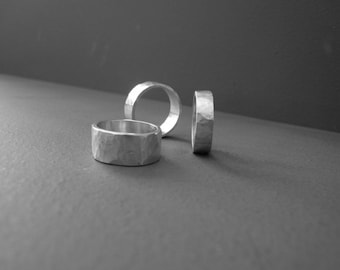 sterling silver wedding ring hammered