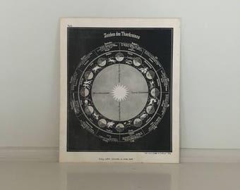 1855 SIGNS of the ZODIAC original antique celestial print  astronomy lithograph - zeichen des thierkreises