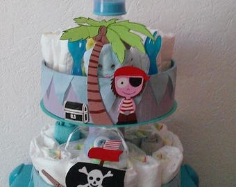 "Diaper cake ""P"" pirate boy ""for boy"