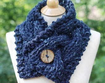 Cable Scarf, Hand Knit Stay Put Cable Scarf Collar in Midnigh Blue Color, Shoulder Wrap with a Coconut Button Ships TODAY