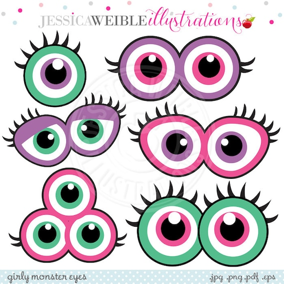 girly monster eyes cute printable birthday party favors rh etsy com  monster with no eyes clipart