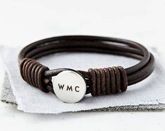 Engraved Mens Leather Bracelet Hidden Message – Bracelet for Him Personalized with Name, Initials, Words and Secret Message