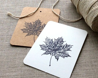 20 Maple Leaf Cards, maple leaf flat cards, maple leaf gift tags, Canadian gift tags