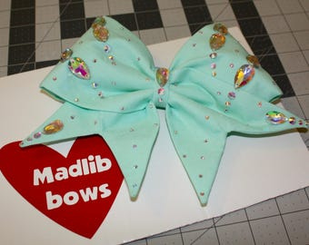 Mint fabric cheer bow with Swarovski Crystals