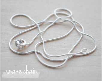 """Sterling Silver Chain - Plain Chain Necklace - 16"""" or 18"""" Snake Chain Necklace"""