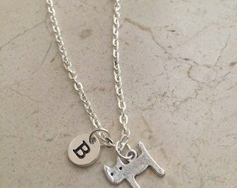 Cat Feline initial necklace, cat jewelry, gift for cat lover, pet cat necklace, feline necklace, pet jewelry, silver cat necklace