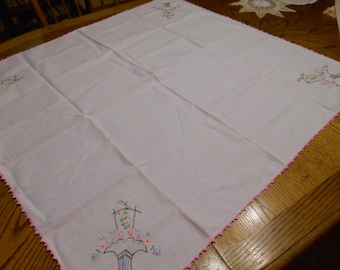 Table Topper Tablecloth Embroidered with Pink Crochet trim