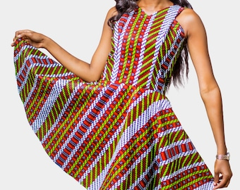African Print Dress, Ankara Dress, African Womens Clothing, Mini dress, Womens Clothing, Womens wear, Flared dress