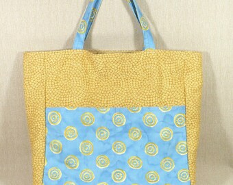 Tote Bag, Market, Beach, Knitting, Travel, Large, Blue and Yellow, lined, zip pocket