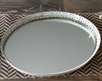 Vintage White Mirror Tray