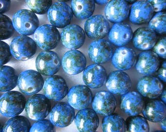 SALE - Royal Blue and Green Acrylic Beads 10mm 20 Beads