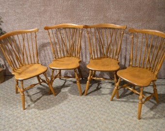 Vintage Set of Four Ethan Allen Windsor Comb Back Chairs