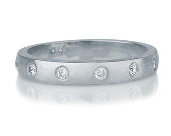 White Gold Wedding Band, Diamond Wedding Ring, 14K White Gold Ring, 0.27 TCW Diamond Ring, Delicate Womens Wedding Band