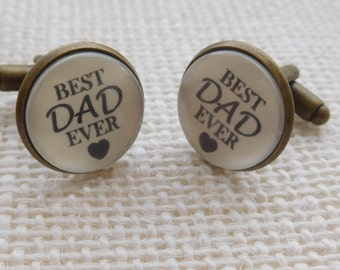 BEST DAD EVER cufflinks. Great Birthday, Father's Day or Christmas gift for dad. Dad cufflinks. Daddy Cufflinks.