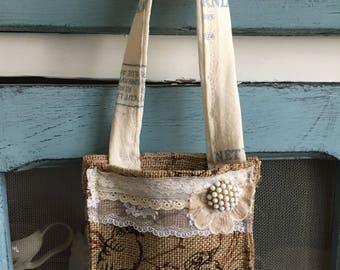 Fall bird burlap doorhanger/ rustic burlap door hanger herb basket
