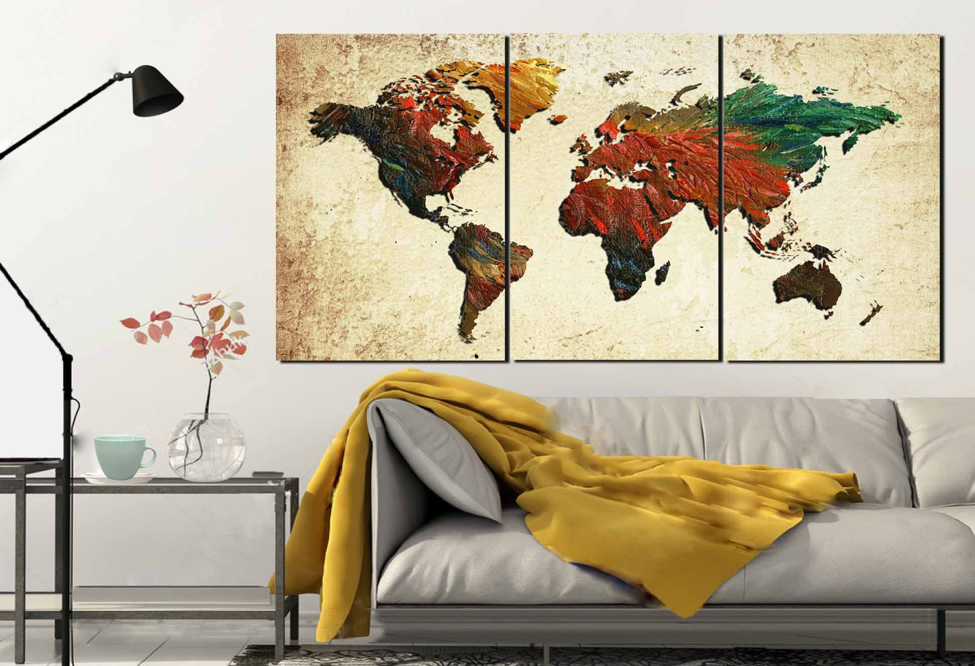 Large world mapworld map world map painting abstract map wall art large world mapworld map world map painting abstract map wall artmap oil paintingworld map canvas printworld map rooster pattern gumiabroncs Choice Image