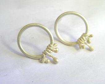 White Silver Fairy Earrings. Organic Silver Earrings. Sculptural Earrings. Elvish jewelry