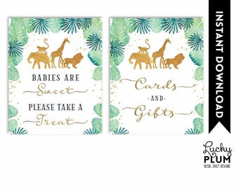 Safari Babies Are Sweet Please Take a Treat / Cards and Gifts Sign / Gift Table Sign / Baby Shower Sign Elephant Printable Digital SF01