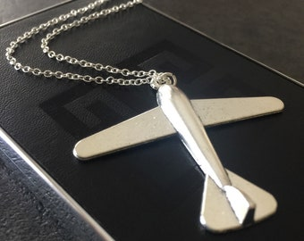 Antique Silver Airplane Necklace