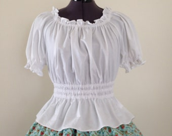 White Shirred Blouse